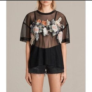 All Saints Keela Tee floral and mesh
